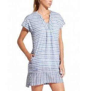 Athleta Barbados Striped Chambray Beach Dress